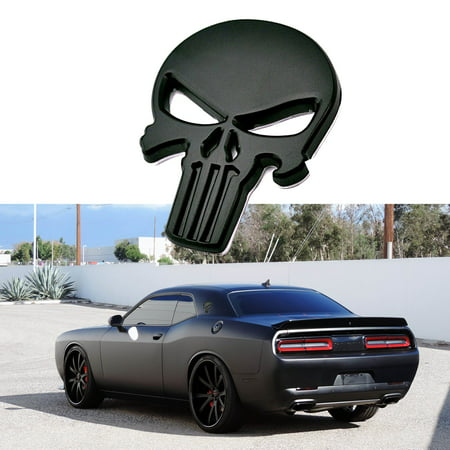 Xotic Tech 1 Piece 3D Black The Punisher Rock Skull Emblem Skeleton Car Badge - Shell Emblem