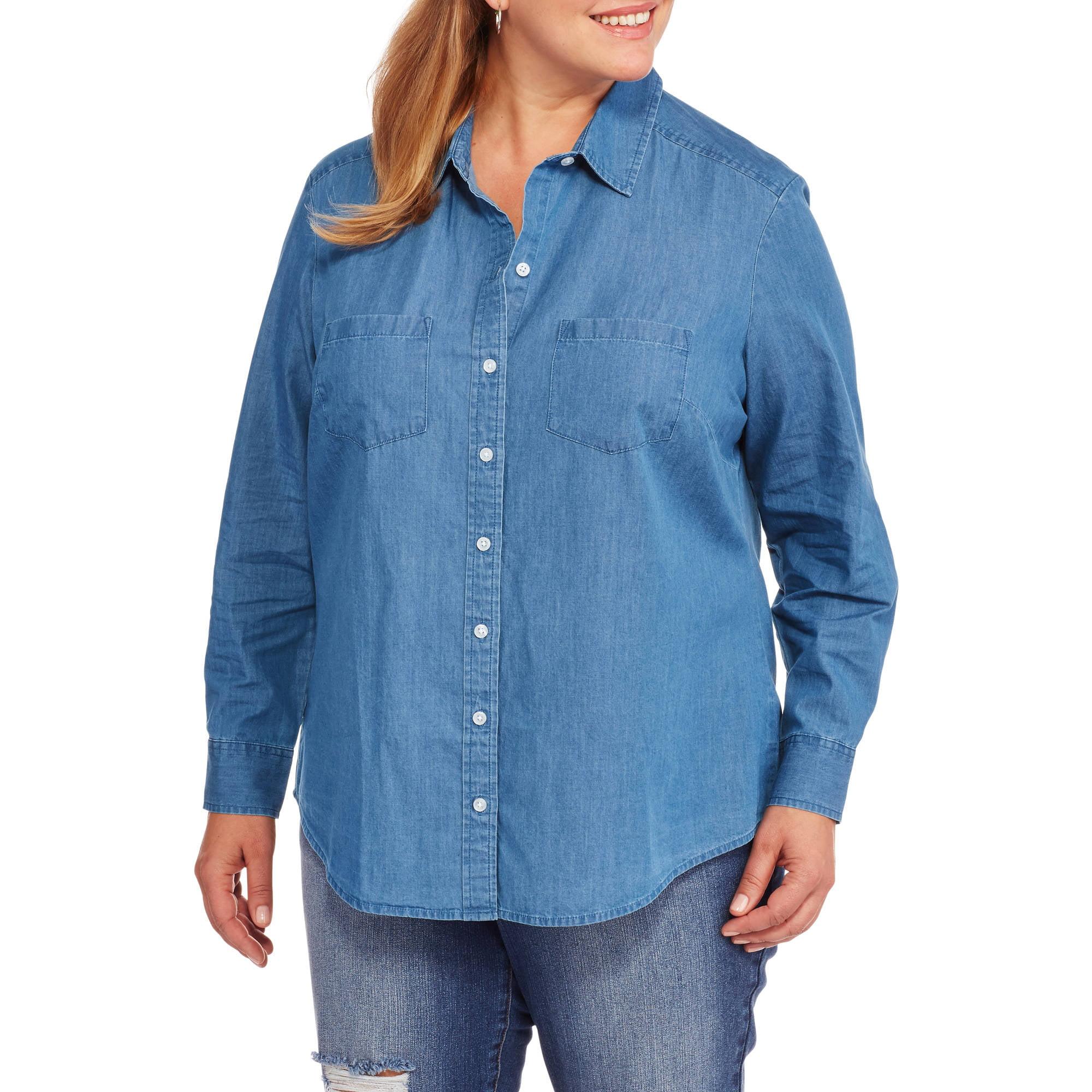 Faded Glory Women S Plus Size Denim Button Down Shirt