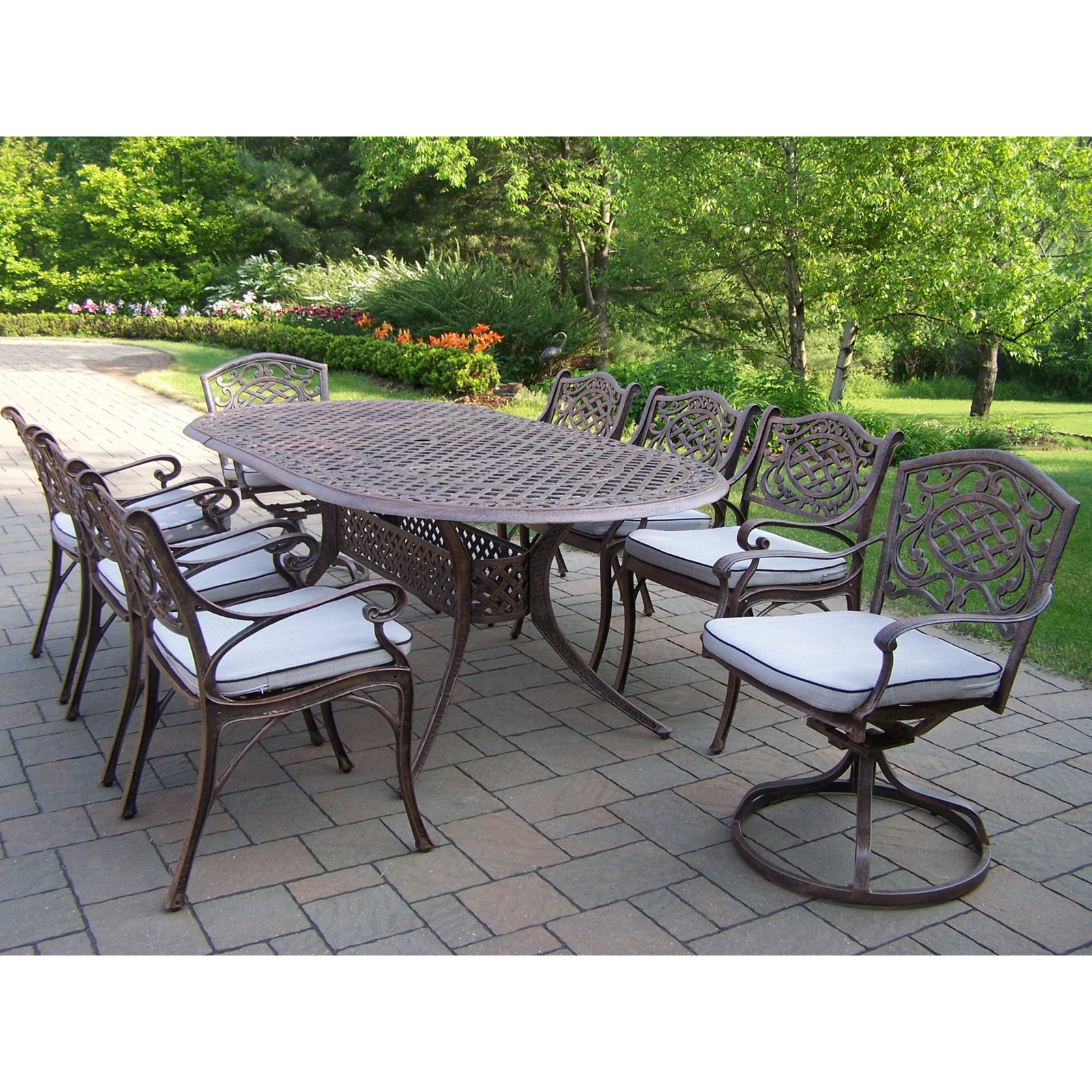 Oakland Living Mississippi Cast Aluminum 82 x 42 in. Oval Patio Dining Set with Swivel Chairs - Seats 8