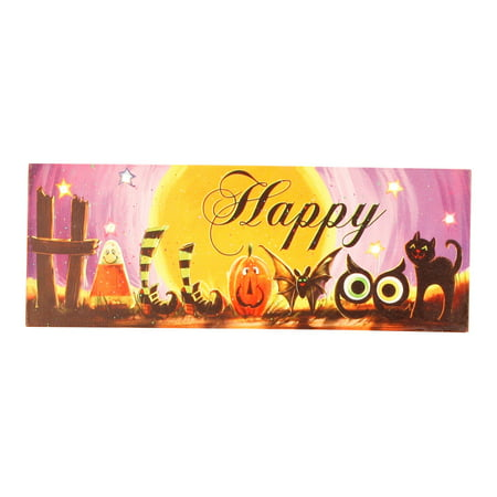 LED Lights Up Happy Halloween Scary Fun 15 Inch Purple Wood Canvas Wall Plaque