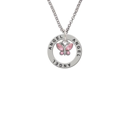Mini Butterfly with Pink Wings & Crystals Angel Affirmation Ring Necklace - Butterfly With Angel Wings