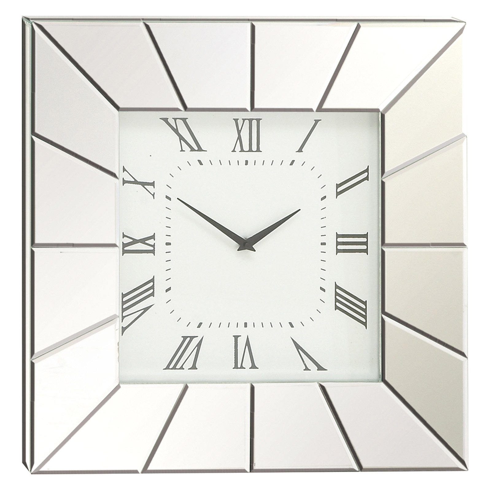 Decmode Wood Mirror Wall Clock, Silver