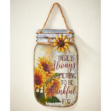 Metal Mason Jar Harvest Sentiment Signs Choice of Harvest Pumpkins or Thankful Sunflowers (Thankful