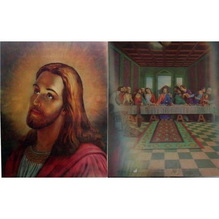 Last Supper Changes to Christ's Face - 3D Animated Lenticular - 8x10 Poster - Ready to (Face Change Frame)