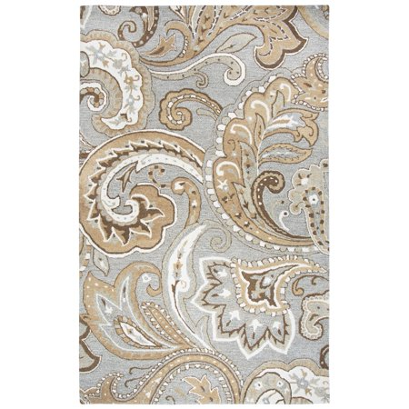 Rizzy Home Hand-tufted Makalu Grey Paisley   Wool Area Rug  (8' x 10') - 8' x 10' ()