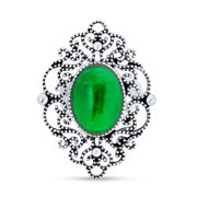Trendy Vintage Antiqued Style Oval Dyed Green Jade Armor Full Finger Filigree Statement Ring for Women Oxidized 925 Sterling Silver
