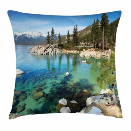 Lake Tahoe Throw Pillow Cushion Cover, Scenic American Places Mountains with Snow Rocks in the Lake California Summer, Decorative Square Accent Pillow Case, 20 X 20 Inches, Multicolor, by Ambesonne