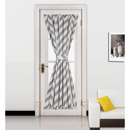 "( Zig Zag ) SILVER 1pc Printed 2 Tone Color STRIPE French Door Foam Backing Insulated Thermal Blackout Rod Pocket Curtain Panel with Tieback 55""W x 72""L"