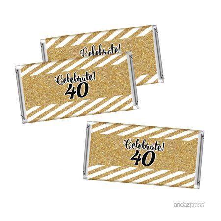 Milestone Hershey Bar Party Favor Labels Stickers, 40th Birthday or Anniversary, 10-Pack, Not Real Glitter - 40th Anniversary Party Ideas