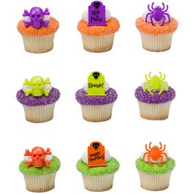 24 Haunted Assortment Halloween Cupcake Cake Rings Birthday Party Favors Toppers
