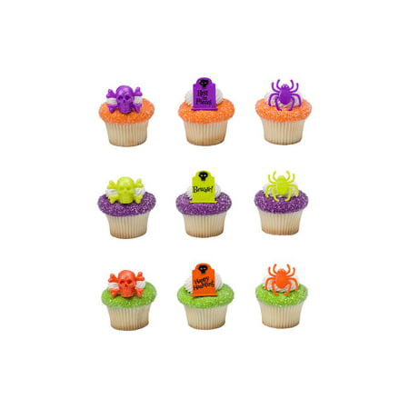 24 Haunted Assortment Halloween Cupcake Cake Rings Birthday Party Favors Toppers (Halloween Wedding Toppers)