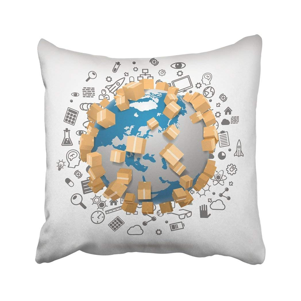 BPBOP White Global Sending Worldwide Map Parcel Earth Box Moving Brain Courier Delivery Many Pillowcase Throw Pillow Cover Case 18x18 inches