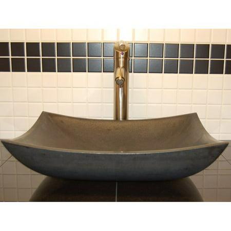 Eden Bath Zen Deep Honed Basalt Rectangular Vessel Bathroom - Zen Bath Sink