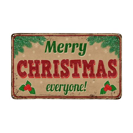 MKHERT Vintage Rusty Metal Sign Merry Christmas Everyone Doormat Rug Home Decor Floor Mat Bath Mat 30x18 inch ()