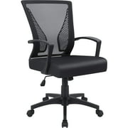 Walnew Office Chair Mid Back Swivel Lumbar Support Desk Chair Computer Ergonomic Mesh Chair with Armrest (Black)