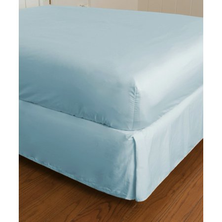 Pima Percale Collection - Warm Things Home 360 Thread Count Cotton Percale Fitted Bottom Sheet BLUE / Twin