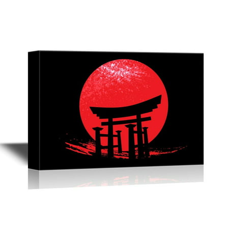wall26 Japanese Culture Canvas Wall Art - Torii the Traditional Japanese Gate - Gallery Wrap Modern Home Decor | Ready to Hang - 32x48 inches