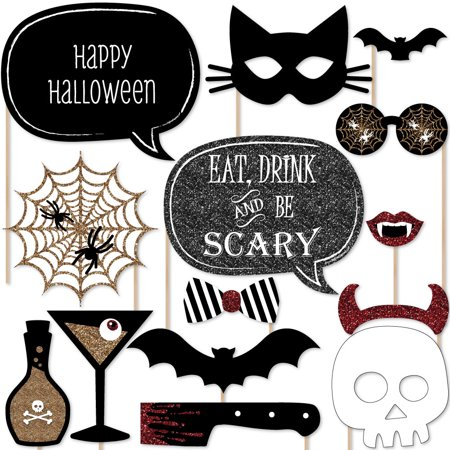 Spooktacular – Eat, Drink and Be Scary Halloween Party Photo Booth Props Kit – 20 Count - Scary Teenage Halloween Party Games