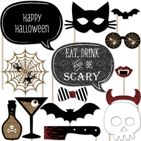 Spooktacular – Eat, Drink and Be Scary Halloween Party Photo Booth Props Kit – 20 Count](Halloween Party Liquor Drinks)