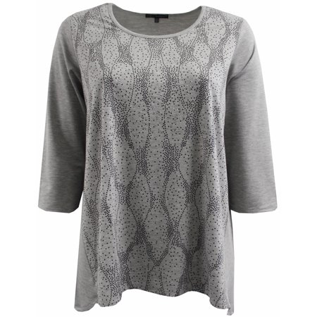 BNY Corner Women Plus Size Dotted Rhinestones Knit Top Tee Blouse Shirt Grey 1X 170.21 BNY (Corner Section Top)