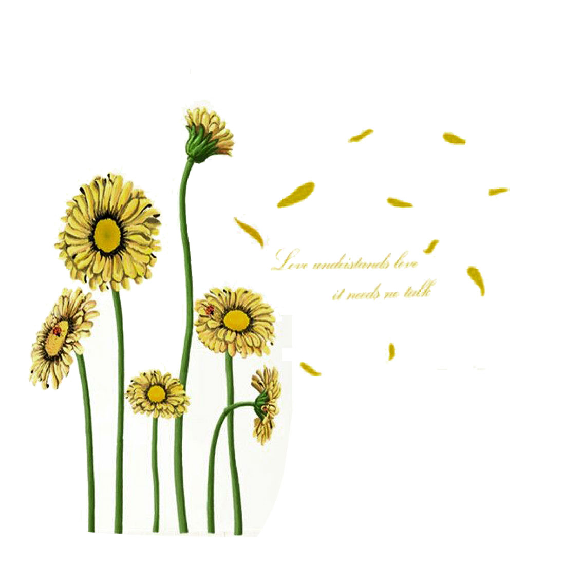 Unique Bargains Home Room DIY Sunflower Pattern Removable Wall Decor Sticker Art Decal