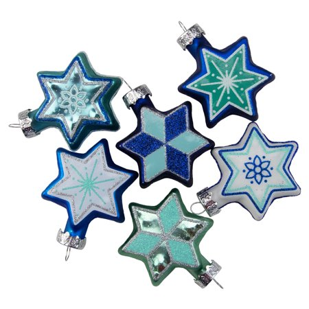 Set of 6 Blue and White Star of David Hanukkah Holiday Ornaments - 2.25