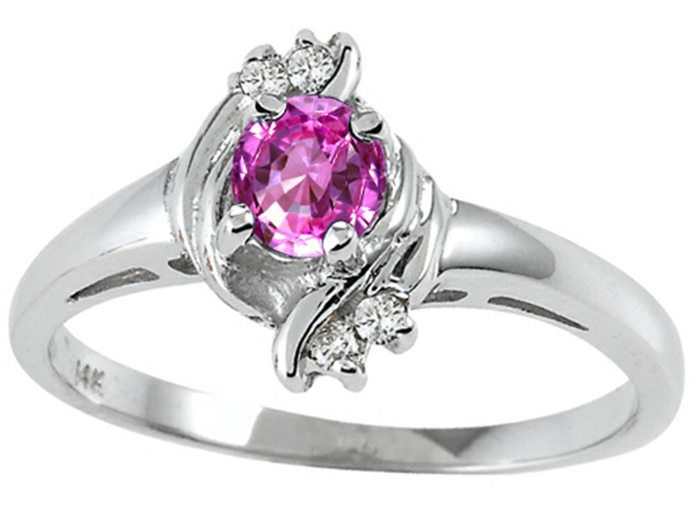 Tommaso Design Round 4mm Genuine Pink Tourmaline Ring by Tommaso design Studio