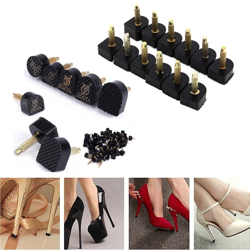 High Heel Replacement Tips,60PCS/30 Pairs High Heel Shoe Repair Tips Stiletto Repair Heel Caps Kit Pin Taps Dowel Lifts Replacement (5 Different Size),Black