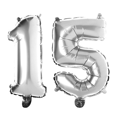 Non-Floating 15 Number Balloons 15th Birthday Party Quinceanera Decorations Small 13 Inch (Silver) - Birthday Numbers