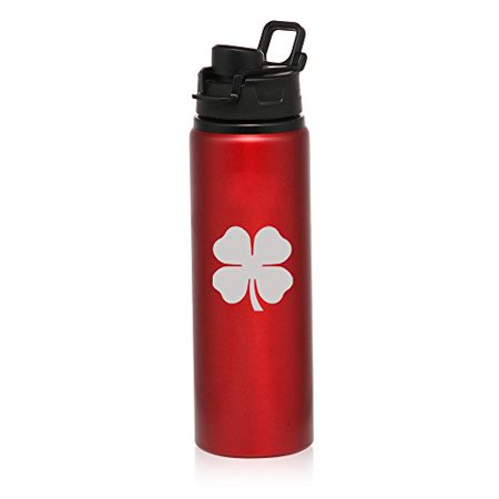 25 oz Aluminum Sports Water Travel Bottle 4 Leaf Clover Shamrock (Red)