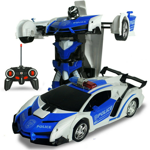 Kids Rc Cars Police Transform Car Robot One Button Transformation 360 Rotating Drifting Remote Control Toy Car Best Christmas Gift For Kids And Adults Walmart Com Walmart Com