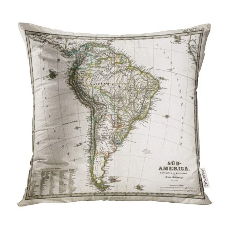 Brazil Antique Map (ECCOT Old 1875 Antique Stieler Map of South America Brazil Vintage Pillow Case Pillow Cover 16x16 inch )