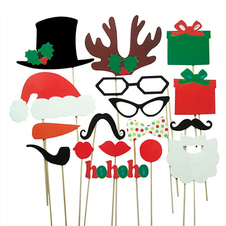 A Set of 17pcs DIY Funny Glasses Moustache Red Lips Deer Horn Santa Hat On Sticks Christmas Wedding Party Photo Booth Props ()