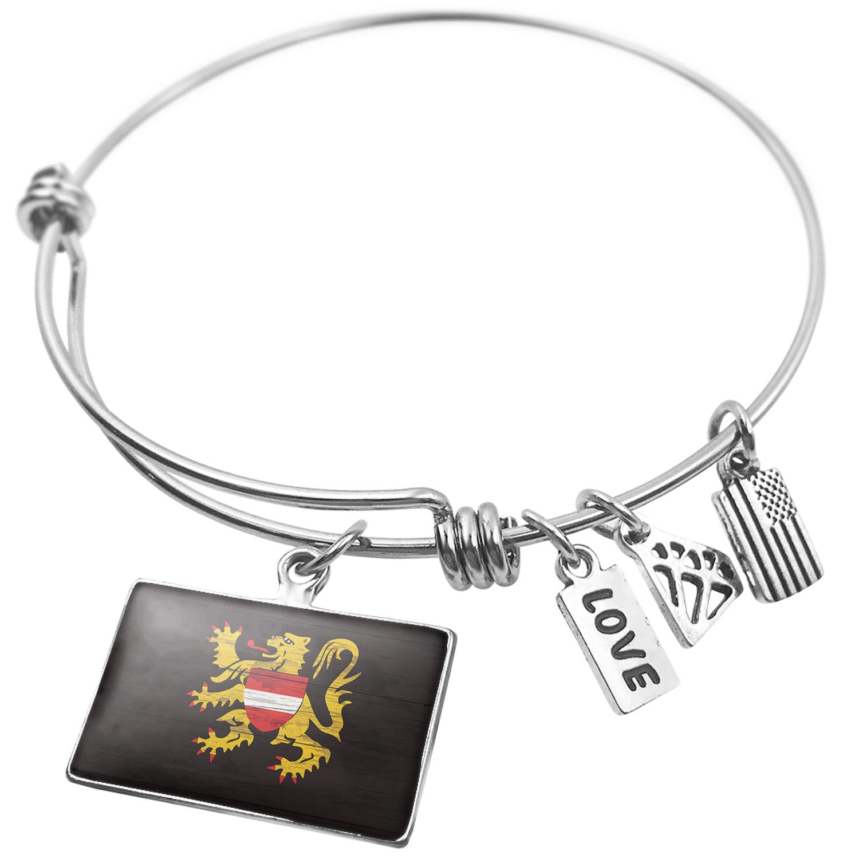 Expandable Wire Bangle Bracelet Flag on Wood Flemish Brabant region: Belgium - NEONBLOND