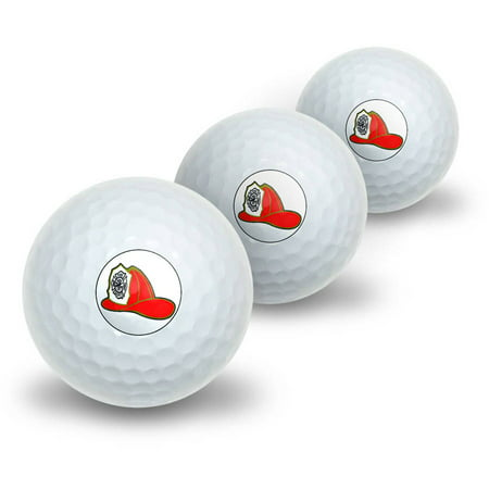 Fire Fighter Helmet Fire Department on White Novelty Golf Balls, 3pk](Novelty Golf Balls)