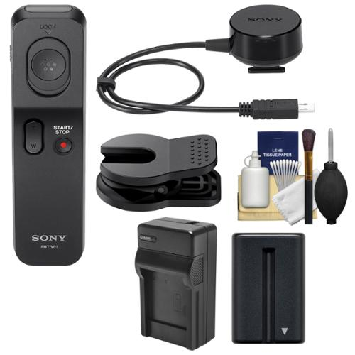 Sony RMT-VP1K Wireless Remote Shutter Controller with NP-FM500H Battery + Charger + Cleaning Kit for Alpha SLT-A77 II Digital SLR Camera