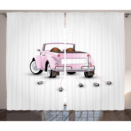 Love Curtains 2 Panels Set, Just Married Themed Open Roof Top Car Love for Bride and Groom Picture Wedding Decorations, Living Room Bedroom Decor, Pink White, by Ambesonne (Car Themed Decor)