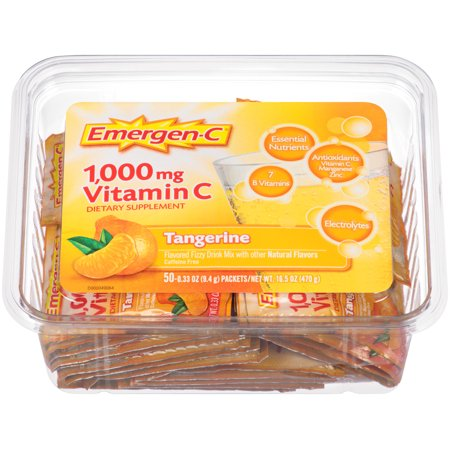 Emergen-C Drink Mix, Tangerine 1000mg Packets, 50ct Office Tub