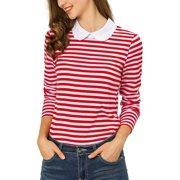 Allegra K Women's Striped Long Sleeve Peter Pan Collar Top XL Red
