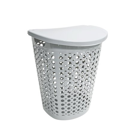 Home Logic 1 8 Bu Large Capacity Linked Impressions 3D Textured Lidded Laundry Hamper  Hi Rise Grey