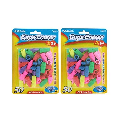 Bazic Pencil Top Erasers, Assorted Colors, Pack of 100 by Bazic