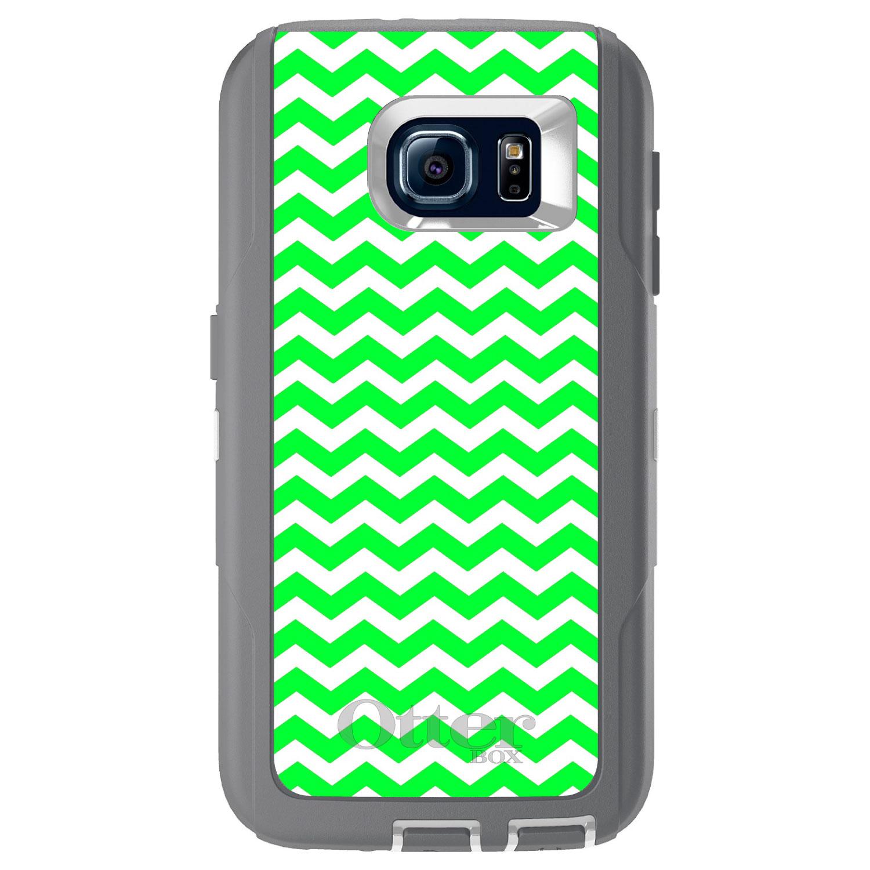 CUSTOM Glacier (Grey / White) OtterBox Defender Series Case for Samsung Galaxy S6 - Green White Chevron Stripes Wave