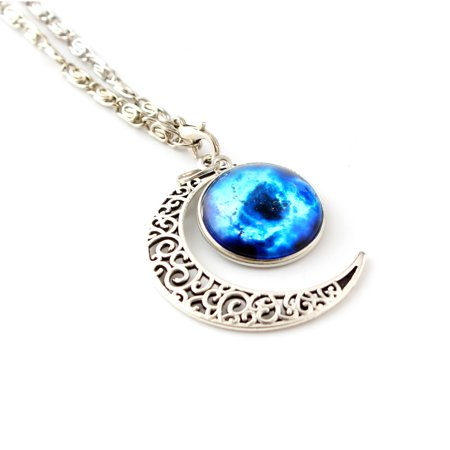 Women Galaxy Universe Crescent Moon Glass Cabochon Pendant Necklace Gift #2