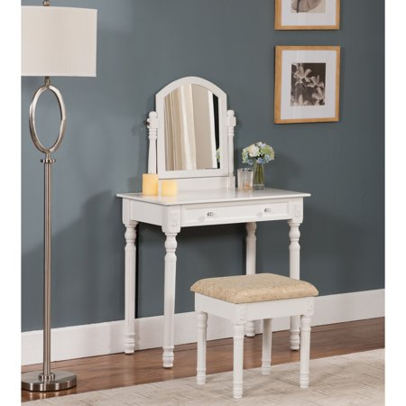 K&B Furniture Vanity Table with Mirror - White ()