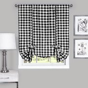 Country Chic Plaid Gingham Tie Up Shade Window Curtain Treatment - Black