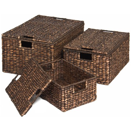 Best Choice Products Set of 3 Water Hyacinth Woven Storage Basket Chests w/ Attached Lid, Handle Hole - Brown