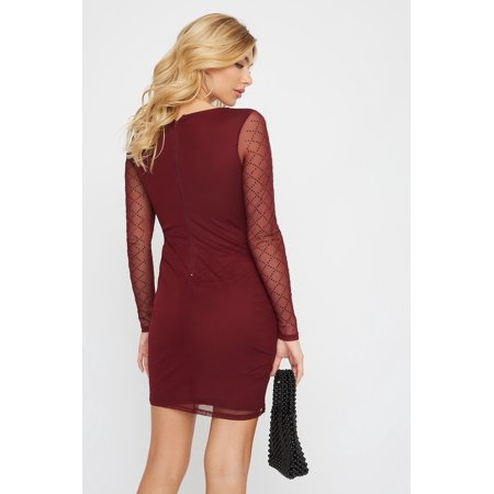 Urban Planet Women's Studded Long Sleeve Mini Dress - image 1 of 3