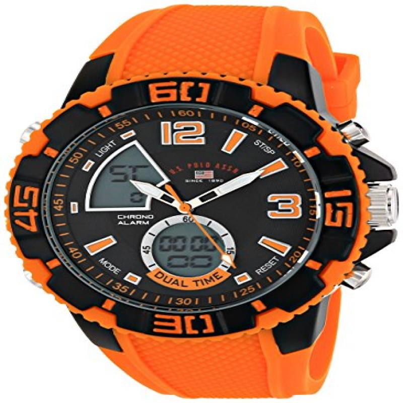U.S. POLO ASSN Sport Men's US9483 Sport Watch with Orange...