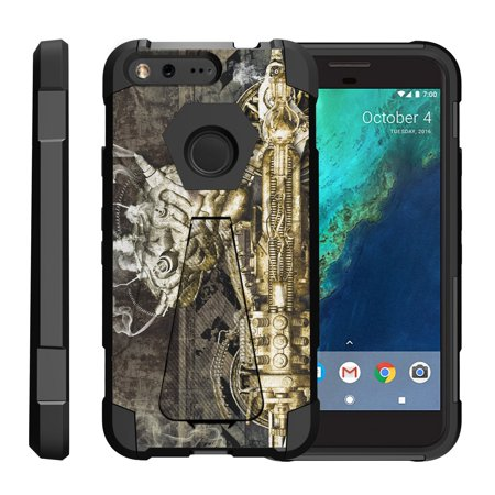 TurtleArmor ® | For Google Pixel [Dynamic Shell] Dual Layer Hybrid Silicone Hard Shell Kickstand Case - Steampunk (Steampunk Google)