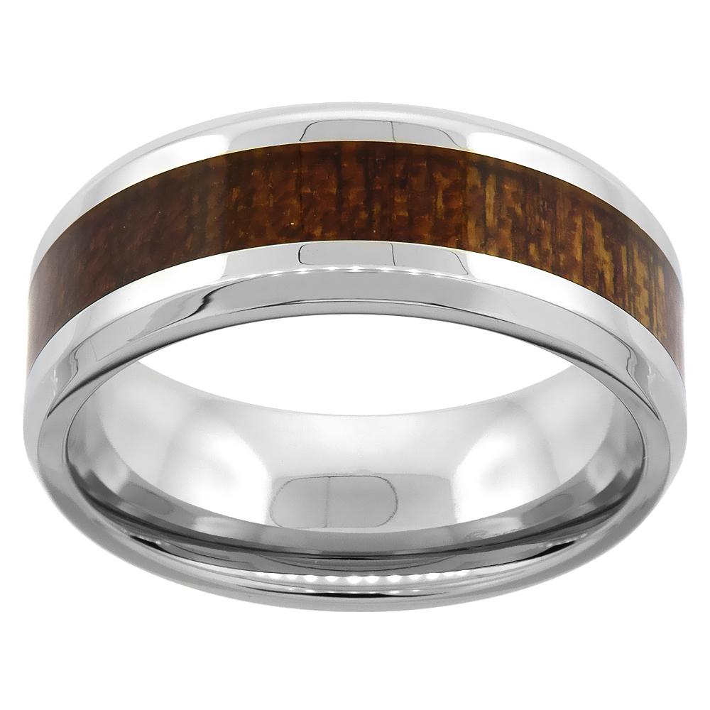 Surgical Steel Wedding Band 8mm Wood Inlay Ring Flat Beveled Edges Comfort-Fit, sizes 9 - 13